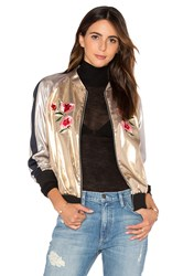 Frankie Embroidered Bomber Jacket Metallic Gold