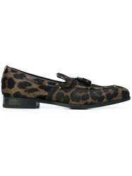 Henderson Baracco Leopard Print Loafers Brown