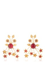 Rodarte Gold Floral Burst Earrings With Ruby Glass Cabochons Red