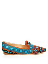 Etro Hand Embroidered Suede Loafers Tan Multi