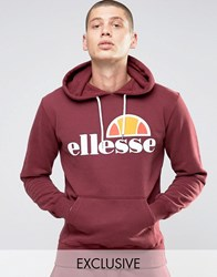 Ellesse Hoodie With Classic Logo Burgundy Red