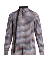 Raf Simons Belted Neck Checked Linen Shirt Blue Multi
