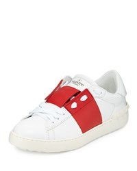 Red Valentino Wide Striped Leather Sneaker Ivory Men's