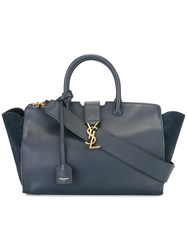 Saint Laurent Small Monogram Cabas Tote Blue