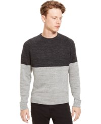 Kenneth Cole Reaction Marled Slub Colorblocked Sweater Light Grey Heather