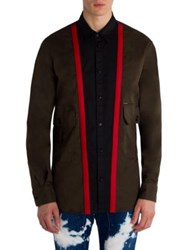 Dsquared Tonal Button Front Shirt Military Green
