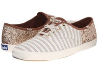 Keds Champion Cabana Stripe Glitter Sand Champagne Women's Lace Up Casual Shoes Beige