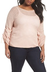 Vince Camuto Plus Size Women's Tie Sleeve Pointelle Sweater Wild Rose