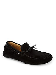Saks Fifth Avenue Round Toe Leather Drivers Black