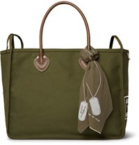 Kapital Leather Trimmed Cotton Canvas Holdall Army Green