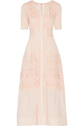 Loveshackfancy Della Pointelle Trimmed Embroidered Cotton Maxi Dress Pastel Pink