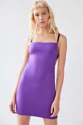 Silence And Noise Sofia Apron Front Ponte Mini Dress Purple