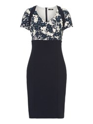 Vera Mont Printed Jersey Dress Navy