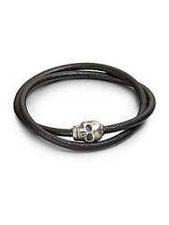 Tateossian Leather Wrap Bracelet Black