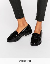 Dune Wide Fit Goodie Black Patent Tassle Loafers Black Patent