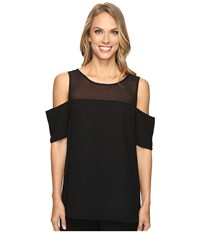 Vince Camuto Short Sleeve Cold Shoulder Blouse With Chiffon Yoke Rich Black Women's Blouse