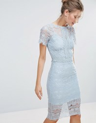 Body Frock Bodyfrock Bodycon Lace Midi Dress With Cape Sleeve And Lace Trim Light Blue