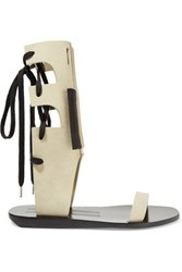 Rick Owens Lace Up Suede Sandals Gray Green