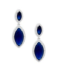 Saks Fifth Avenue Crystal Sapphire And Sterling Silver Double Drop Earrings
