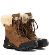 Ugg Adirondack Ii Fur Trimmed Leather Boots Brown