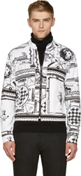 Versus White And Black Twill Anthony Vaccarello Edition Giubbotto Jacket