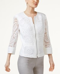Inc International Concepts Petite Crochet Jacket Only At Macy's Bright White