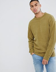 D Struct Oversized Crew Chenille Jumper Green