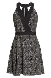 19 Cooper Dot Print Fit And Flare Dress Black White