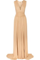 Balmain Ruched Stretch Jersey Gown Sand