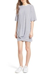 The Fifth Label Recharge Knot Hem T Shirt Dress White Navy