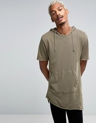 Pull And Bear Pullandbear Short Sleeve Sweatshirt In Khaki Khaki Green