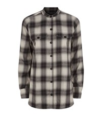 R R Studio Plaid Double Pocket Shirt Female Black