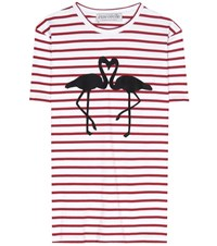 Etre Cecile Flamingo Striped Cotton T Shirt Red