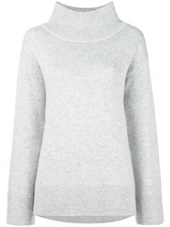 Rag And Bone Ribbed High Neck Jumper Grey