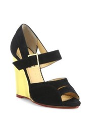 Charlotte Olympia Marcella Suede And Metallic Wedge Sandals Black Gold