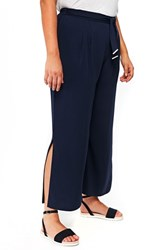 Evans Plus Size Tie Front Wide Leg Pants Navy