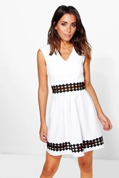 Boohoo Crochet Insert Skater Dress Cream
