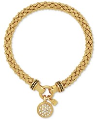 Nine West Pave Charm Weave Style Stretch Bracelet Gold