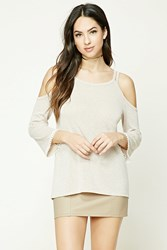 Forever 21 Marled Open Shoulder Top Coffee White