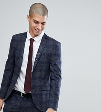 Heart And Dagger Super Skinny Suit Jacket In Fleck Grid Charcoal Grey