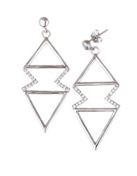 Lord And Taylor Cubic Zirconia Zigzag Triangle Earrings Silver