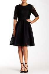 Gracia Mesh Striped Dress Black