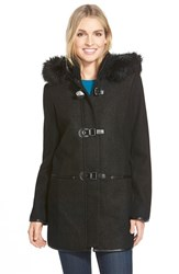 Women's Kensie Boucle Front Duffle Coat With Faux Fur Black