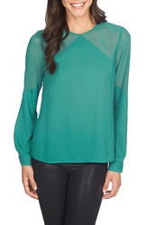 1.State Sheer Yoke Long Sleeve Blouse Bonsai