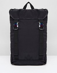 Asos Design Hiker Backpack In Black With Iridescent Buckles