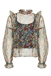 Topshop Floral Mesh Frill Blouse Multi