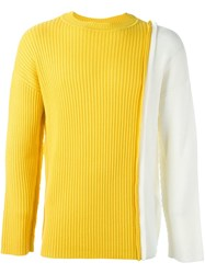Liam Hodges Two Tone Knit Jumper Yellow And Orange