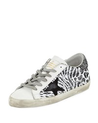 Golden Goose Superstar Smudge Print Leather Platform Sneaker Leopard
