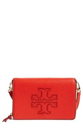 Tory Burch Women's 'Harper' Pebbled Leather Wallet Crossbody Bag Red Samba