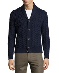 Luciano Barbera Wool Cable Knit Cardigan Navy